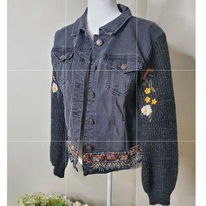 Desigual Embroidered denim sweater jacket